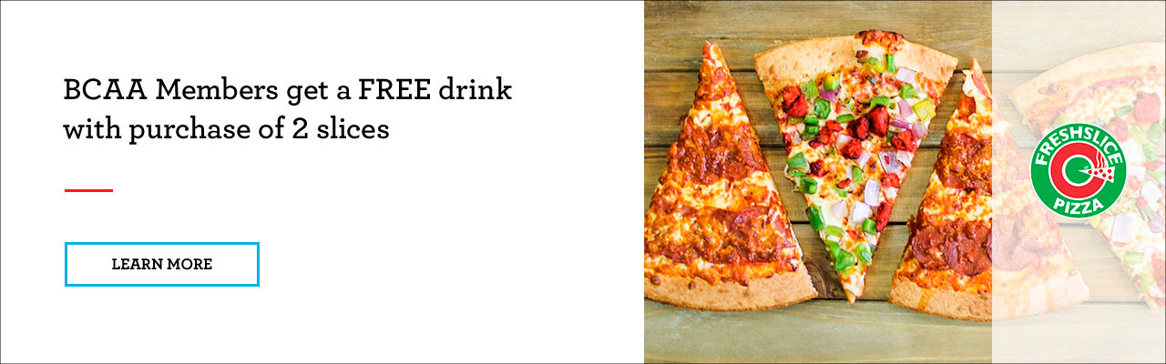 FREE soft drink when you buy 2 slices of pizza