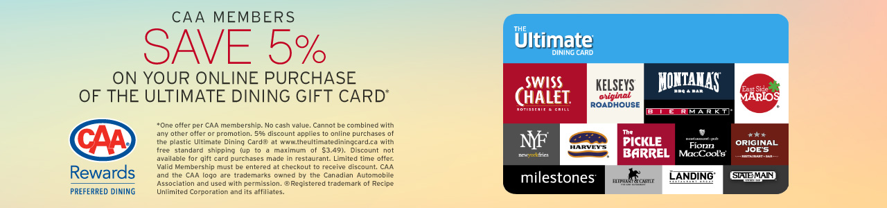 Save 5% on the online purchase of The Ultimate Dining Card plus free standard shipping.