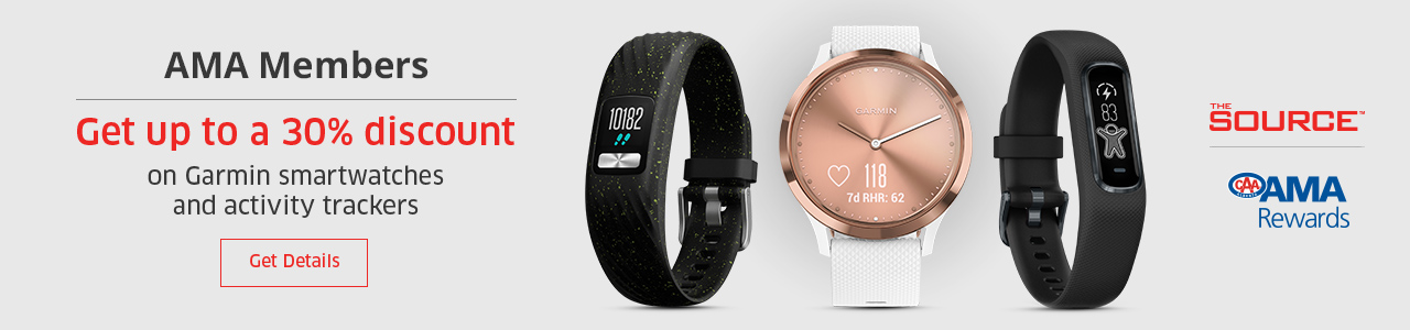 CAA Members receive up to 30% discount on Garmin activity trackers and smartwatches*